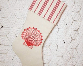 Coastal Scallop Stocking | Scallop Shell Redwork Embroidery — Vintage French Linen and Vintage French Ticking