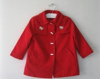 Spring SALE Vintage Children's 60s red coat / embroidered flowers girl's Mod Fashion jacket