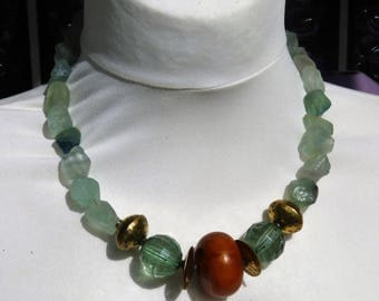 Raw Chunky Hammered Aqua Green Fluorite Nuggets and African Amber Necklace, Statement Necklace