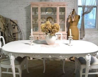 dining table painted cottage chic shabby french dining table tbl238 - French Dining Table