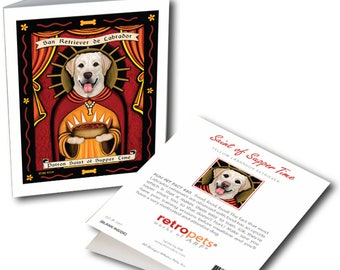 "Yellow Lab Cards  ""Saint of Supper Time"" 6 Small Greeting Cards by Krista Brooks"