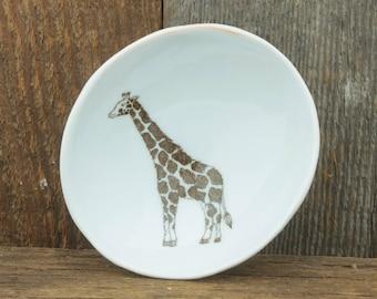 Giraffe Woodgrain Dish by SKT Ceramics. Hand built porcelain dish, jewelry dish, olive oil dish, tapas dish by SKT Ceramics