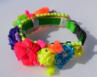 Dog Collar Slide, Dog Wedding Collar, Flower Collar Accessory, Boho or Bohemian, Gypsy, Small Dog Collar, Large Dog Collar