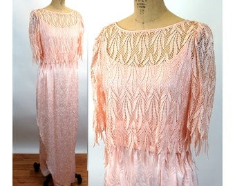 Pink formal gown with lace top jacquard slip dress with cummerbund sheer lace overblouse Lee Jordan Size L