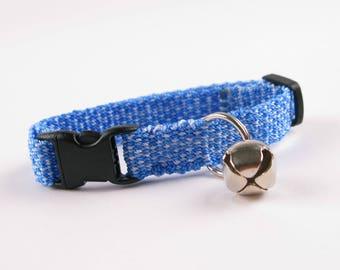 Kitty Cat Collar Hand Woven Breakaway Kitten Collar Blue Speckle