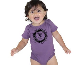 Jackalope Baby Clothes, Organic Cotton Baby Onepeice, Made in USA shirt, Organic Bodysuit, Short Sleeved, Hand Printed, Mythical Jack Rabbit