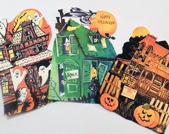 Haunted House Tags - Set of 9 - Halloween Tags - Vintage Halloween - Spooky Houses - Cut Out Tags - Orange Black Green - Treat Bag Toppers