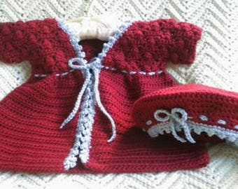 Crocheted Sweater Beret Toddler Girl Autumn Red Flannel Grey Picot Trim 2T