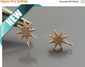 10% SALE 2 pcs / 1 pair shiny rose gold star CZ / Cubic Zirconia pave earrings, rose gold wedding earrings E959-Brg