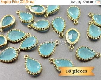 15% SALE lot of 16 pcs- ocean blue 12mm teardrop glass charms / glass beads 5049G-OB-12-bulk (16 pieces)