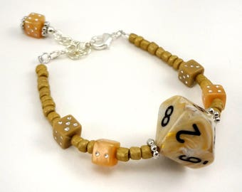 Creams and tans D10 beaded dice bracelet