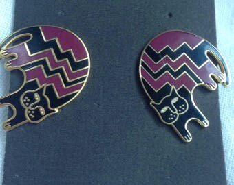 Vintage Laurel Burch Aztec Cat Earrings Black and Maroon Red Original Card