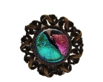 Dichroic Fused Glass Ring/ Vintage Brass Ring/ Fused Glass Ring/ Pink and Teal Ring