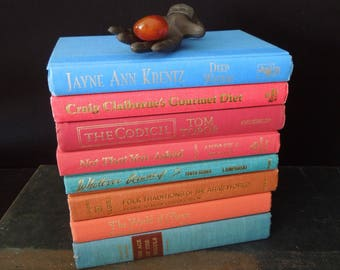 Colorful Bookshelf Decor Blue, Teal & Coral - Books for Decor - Vintage Book Stack -  Books by Color
