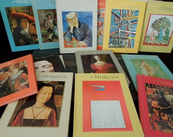 17 Horizons Magazine Collection Vintage - Art Historical History Cultural Study - Vintage Decorative Book Collection - Books for Decor