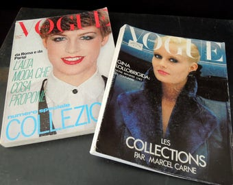 Vintage European Vogue Magazines Italian & Paris Issues  -1978 1980 Editions - Fashion Books Reference History Clothing