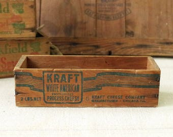 Wood CHEESE BOX 2lb Kraft Cheese Box - Primitive Wood Container Cheese Box