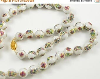 SALE SALE Old Chinese Hand Painted White Porcelain Vintage Necklace