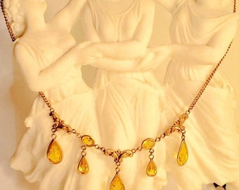 CIJ SALE Christmas JULY Beautiful Edwardian Art Nouveu Citrine Gold Vintage Festoon Antique Necklace