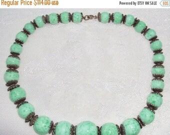 CIJ SALE Christmas JULY Clearnce Sale Art Nouveau Art Deco Czech Green Peking Art Glass Vintage Antique Necklace