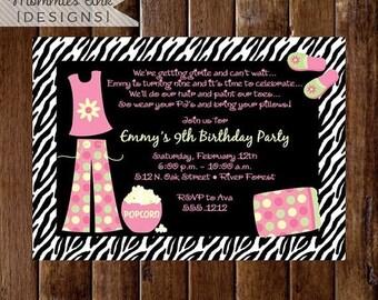 20% OFF SALE Sleepover Fun Birthday Party Invite - Sleepover - Sleep over Invitation - Girl Party - Birthday Invite - PRINTABLE Invitation D