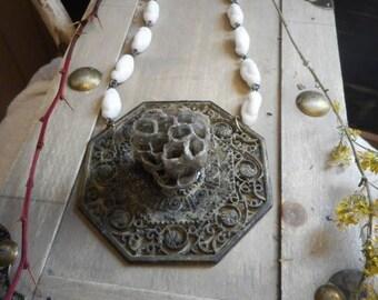 PAPER WASP QUEEN. Genuine wasps Honeycomb Nest. Antique Baroque Hexagon. Medallion. Boho. Milk Glass. Bee Costume. Neck Art. Handmade OoaK.