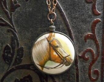SALE Gypsy Rider. Rustic Equestrian Medallion Necklace