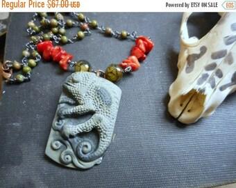 SALE The Chameleon Heart Necklace.  Carved Ribbon Jasper, Red Coral, Dragon Vein Agate & Autumn Jasper ooak Handmade Boho Necklace