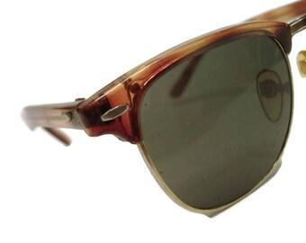 Vintage Black Tortoise Horned Rim Eyeglasses Sunglasses