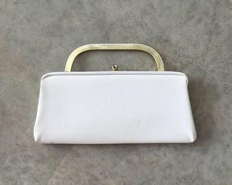 white vinyl 60s convertible clutch - 1211413