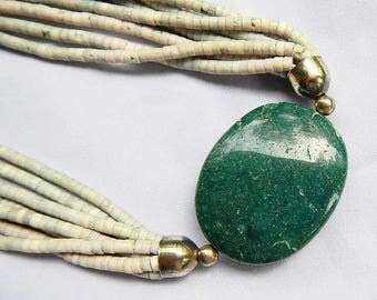 Serpentine Stone Vintage Necklace With Multi Strand Cut Stone Beads