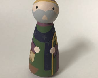 St. Anselm of Canterbury - Wooden Peg Doll