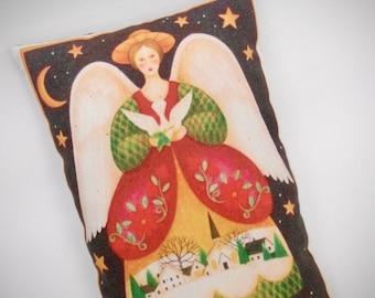 Christmas Pillow   Folk art angel   Holiday pillow   Holiday Decoration   Christmas decor   Christmas present   Housewarming gift  