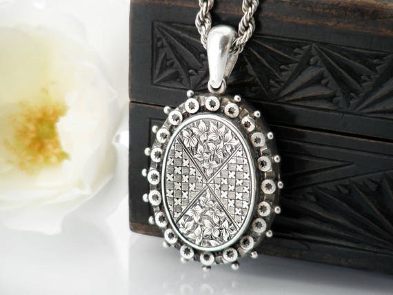 Antique Locket Sterling Silver | Oval Victorian Locket 1881 English Hallmark | Aesthetic Period Ivy Leaves - 17 Inch Heavy Chain, Bolt Ring