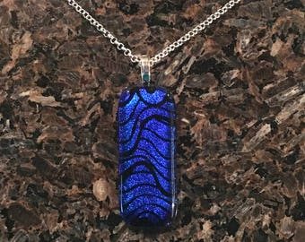 Pendant Necklace, Blue Waves, Dichroic Jewelry