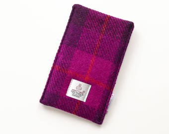HARRIS TWEED Phone sleeve, fuchsia pink check, - can be made to fit any phone - with or without additional covers