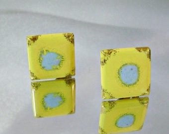 SALE Vintage Yellow Porcelain Earrings. Yellow Baby Blue Gold Gilt Square Earrings.  Porcelain Earrings.