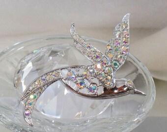 SALE Vintage Silver Rhinestone Bird Brooch.  Sarah Coventry Bird of Paradise Rhinestone Pin.