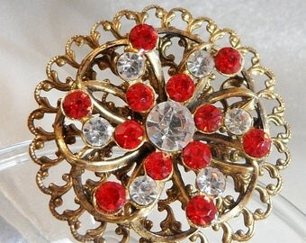 SALE Vintage Red Clear Rhinestone Brooch. Red Clear Rhinestones Pin.  Pressed Brass Pin.
