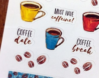 Coffee Cup Mom Student Planner Stickers, PS1