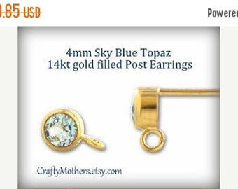 8% off SHOP-WIDE, Sky Blue TOPAZ Gemstone 14kt Gold Filled Post Earrings w/ backings (4mm) - 1 Pair (2 pieces), December birthstone