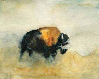 Bison Original watercolor painting 14x11inch