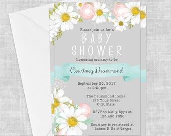 PRINTED Grey Daisy Invitation- Aqua Blue, 5 x 7, Baby Shower Invitation, Wedding, Birthday, Bridal Shower, Customized w/ Your Wording
