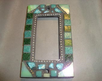 MOSAIC Outlet Cover or Switch Plate, GFI Decora, Wall Plate, Wall Art, Shades of Green, Teal, Silver, Aqua