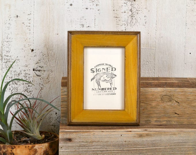 4x6 inch Photo Frame in 2-Tone Style with Vintage Honey Dye on Poplar Finish - IN STOCK Same Day Shipping - 4 x 6 Sale Frames Solid Hardwood