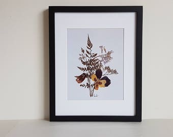 Pressed flower art print 11x14 matted print from one of my original pressed flower artwork made w/ real dried flowers - botanical art print
