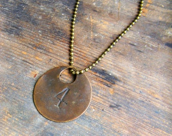 Vintage Id Tag Necklace, Copper Number Tag Pendant Necklace, Round Copper Tag Necklace Number 4 Necklace, Salvaged Metal Pendant Necklace