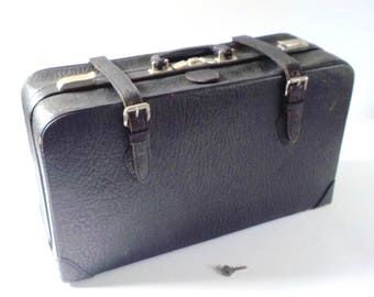 Vintage Black Cowhide Leather Suitcase • Mid Century Leather Suitcase • Vintage Suitcase with Key