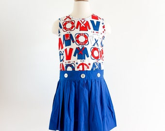 "Vintage 1960s Girls Size 7-8 Dress / Nautical Sailor Jumper Dress VGC / b8 L28"" / Red White Blue Cotton"
