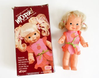 Vintage 1970s Toy Doll / Ideal Whoopsie Doll in Box 1978 Working / Squeezy My Tummy, My Hair Flips Up and I Whistle Whoopsie!